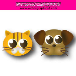 Cat and Dog with Funny Faces Vector Graphics