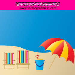 Beach Vector Graphics - Beach Umbrella, Chairs, Sand Pale, and Sand Shovel.