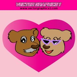 Bear Characters Valentine's Day Vector Graphics