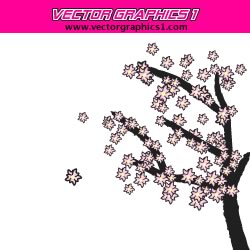 Japanese Cherry Blossoms Tree Vector Graphic Art